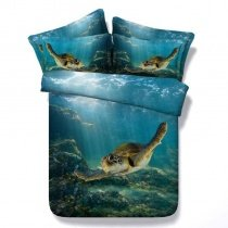 Ocean Blue and Brown Sea Turtle Print Undersea World 3D Design Tropical Natural Modal Fiber Twin, Full, Queen, King Size Bedding Sets