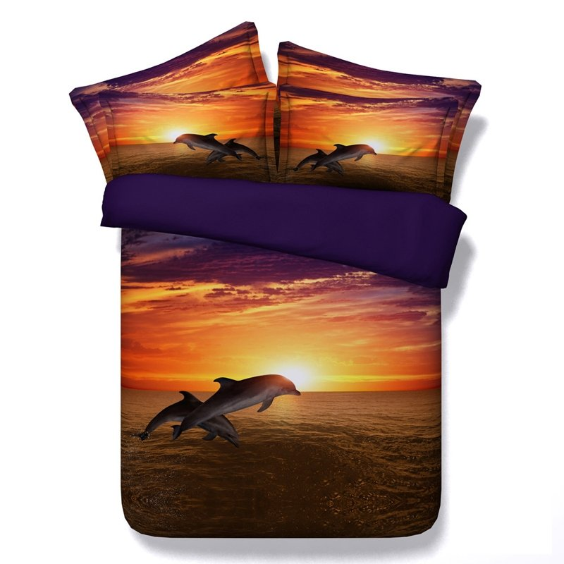 Boys Sunset Orange and Brown Dolphin Print 3D Animal Marine Life Tropical Hawaiian Style Twin, Full, Queen, King Size Bedding Sets