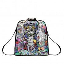 Colorful Hip-hop Punk Style Cartoon Character Bohemian Floral Backpack Personalized Cute Cool Girls Casual Shell-shaped Tote Bag