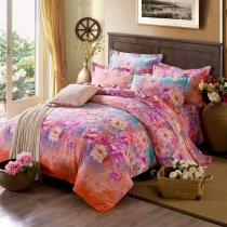 Coral Red Turquoise and Pink Flower Print Oriental Garden Rustic Style 100% Brushed Cotton Full, Queen Size Bedding Sets