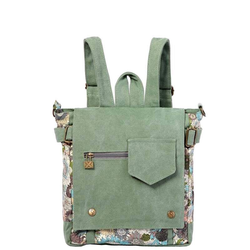 Sage Green Canvas Flap Backpack Simply Chic Casual Girls Preppy School Book Bag High Fashion Floral Crossbody Shoulder Laptop Bag