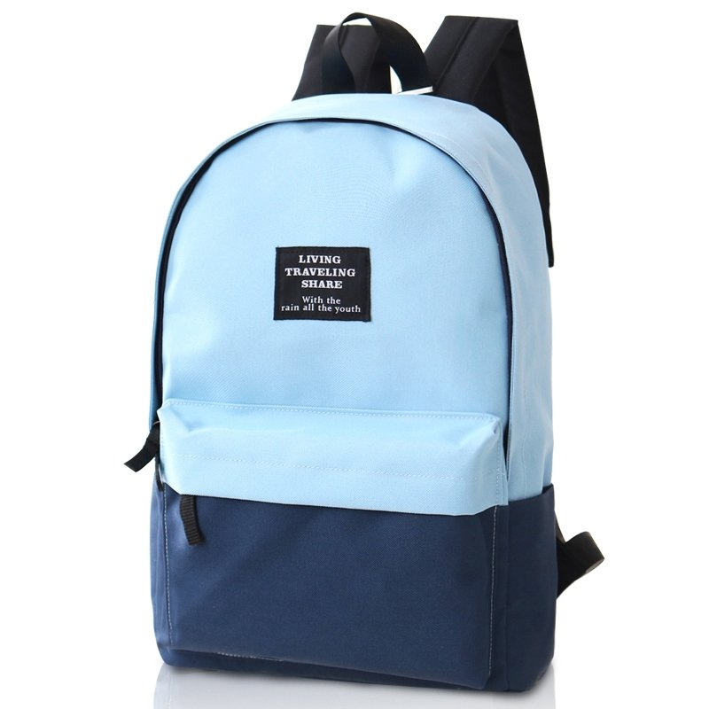 Durable Dark Blue Sky Blue Canvas Junior Preppy School Book Bag Boutique Simply Chic Color Blocking Casual Travel Hiking Laptop Backpack