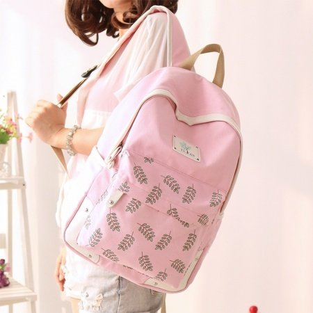 Durable Girly Pink Canvas Senior Preppy School Book Bag Stylish Leaf Pattern Girls Hiking Travel Backpack for 15 Inch Laptop