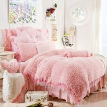 Girls Solid Pink Lace Edge Princess Style Cute Girly Themed Elegant Luxury Thick Flannel Twin, Full, Queen Size Bedding Sets
