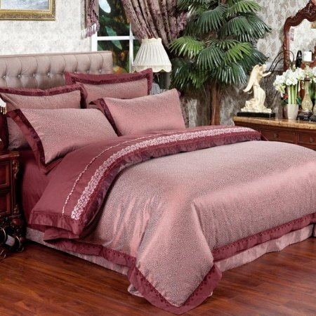 Sienna and Puce Abstract Design Luxurious Old Fashion Durable Jacquard Satin Full, Queen Size Bedding Sets for Adult