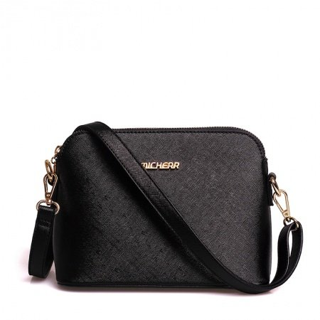 Durable Solid Black Feminine Sewing Pattern Sequined Zipper Casual Party Stylish Women Small Shell-shaped Crossbody Shoulder Bag