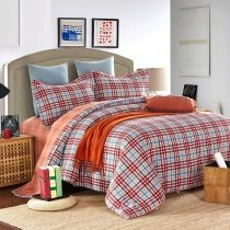 Blue Orange Red and Brown All Plaid Print Traditional Preppy Style 100% Brushed Cotton Full, Queen Size Bedding Sets