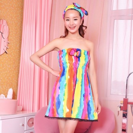 Colour High Quality Girls Goddess Flannel Bowknot Lace Ruffled Striped Pleat Sexy Chest Wrapped Towels Summer Pajamas
