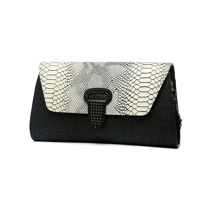 Black White Genuine Cowhide Leather Embossed Alligator Flap Envelope Evening Clutch Luxury Rivet Studded Lady Party Crossbody Shoulder Bag
