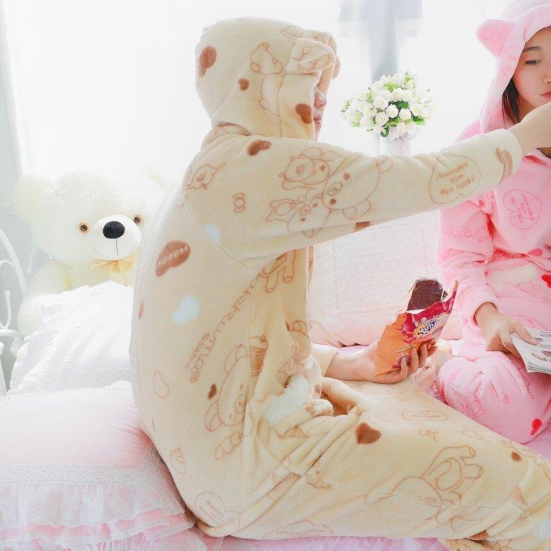 Beige Bear Animal Cosplay Costume 100% Polyester Men Girls Cartoon Hooded Zipper Pocket Onesie Pajamas Toileting Version