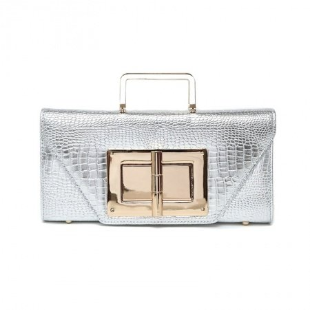Silver Embossed Patent Leather Crocodile Envelope Flap Evening Clutch Stylish Sequined Women Chain Strap Crossbody Shoulder Handle Bag