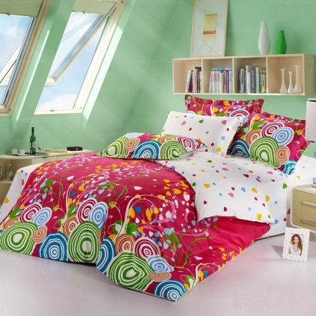 Lime Green Blue and Red Colorful Circles and Victorian Heart Print Full Size 100% Cotton Bedding Sets