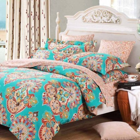 Teal Blue Pink and Red Baroque Style Bohemian Chic Tribal Print Indian Pattern Full, Queen Size Bedding Sets