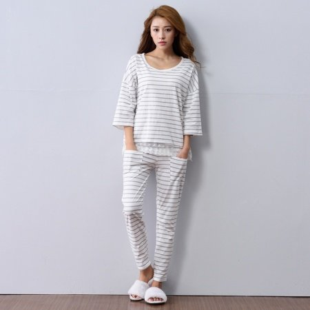 100% Cotton White Stripe 3/4 Sleeve Length Contracted Pajamas for Girls Lady