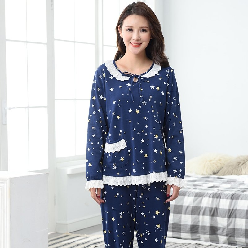 Blue Star Print Lace Border Shirt and Trousers Romantic Fashion Pajamas for Girls Lady