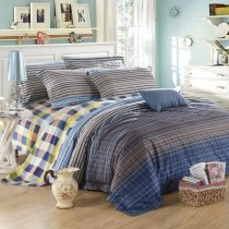 Dark Blue Coffee Grey and White Luxury Checkered Plaid Masculine Style Shabby Chic 100% Egyptian Cotton Full, Queen Size Bedding Sets
