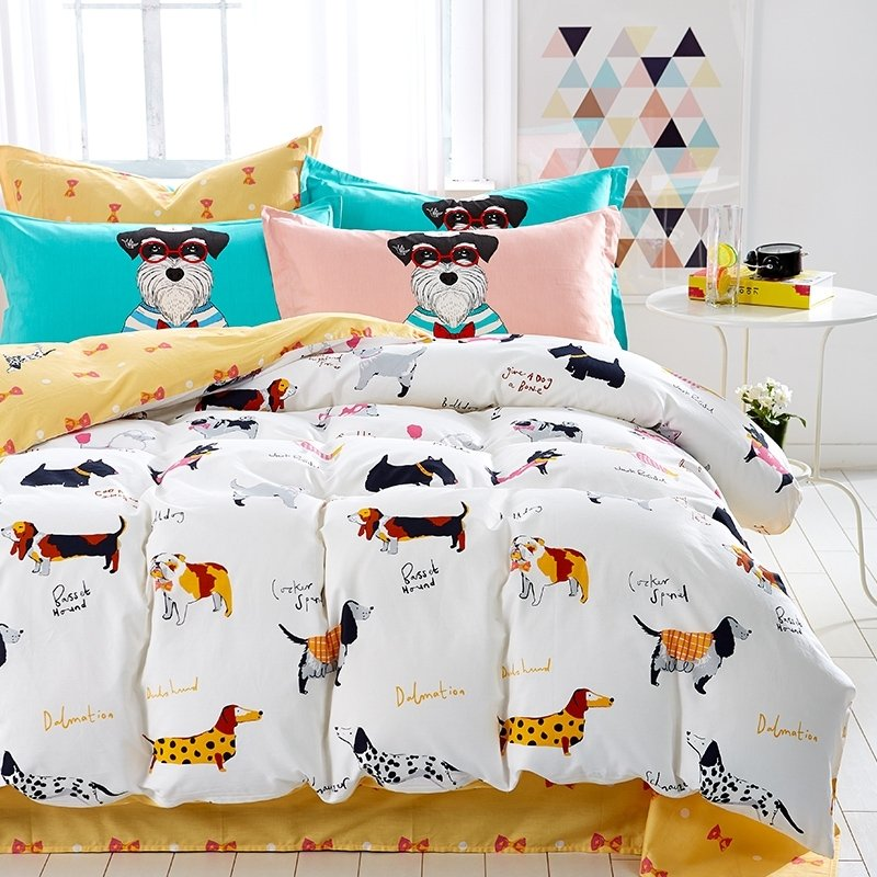 Kids Rust Orange Black and White Farm Animal Dog Print Funny Style Reversible 100% Cotton Twin, Full Size Bedding Sets