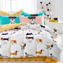 Kids Rust Orange Black and White Farm Animal Dog Print Funny Style Reversible 100% Cotton Twin, Full Size Bedding Sets
