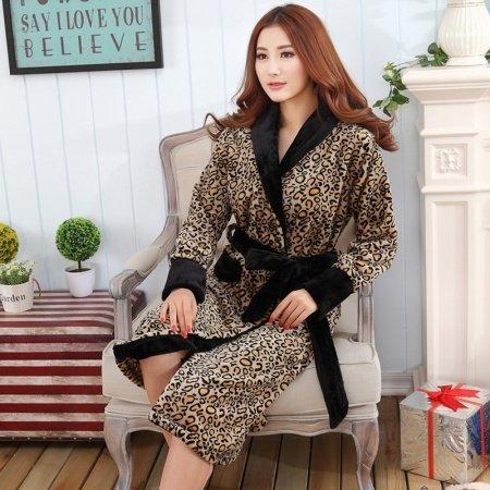 Leopard Print Flannel Bathrobe Night robe Winter Pajamas for Women Girls M L XL XXL