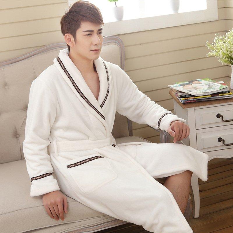 Snow White Elegant Flannel Bathrobe Night Robe Winter Pajamas for Men Boys M L XL XXL