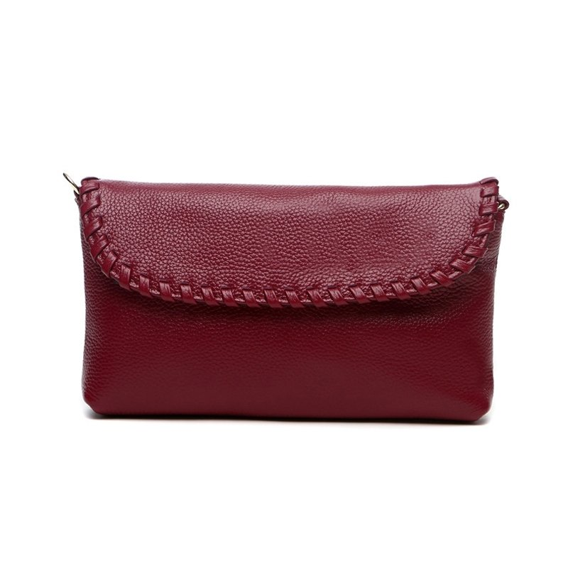 Fashion Durable Solid Red-violet Genuine Cowhide Leather with Gorgeous Braided Feminine Lady Casual Party Flap Crossbody Shoulder Bag
