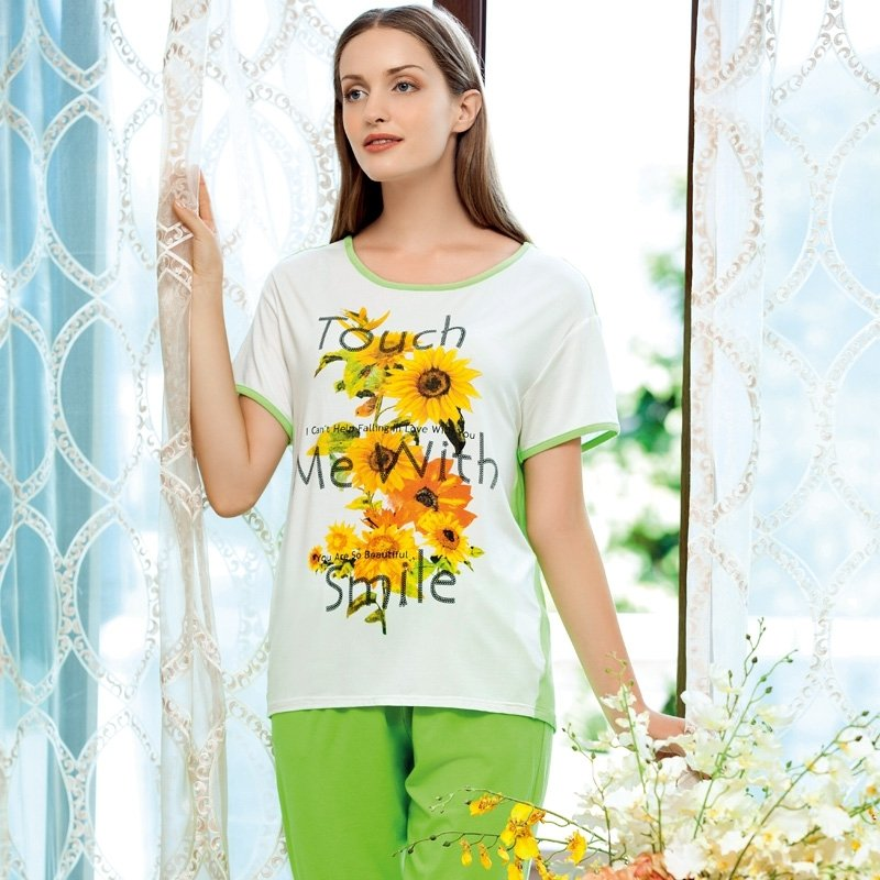 Green Yellow Flower Sunflower Print 2pc Shirt Cropped Trousers Comfortable Breathable Casual Pajamas for Women