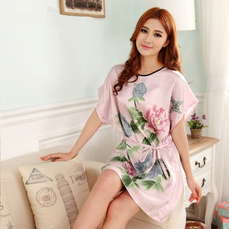 Pink Peony Flower Sexy Elegant One Piece Free Size Girls Pajamas