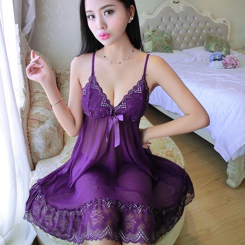 Plain Purple Bud Silk Bowknot V-neck Sleeveless Nightdress Sexy Transparent Temptations Pajamas for Girls M L XL XXL