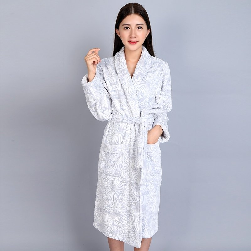 Grey Flannel 3D Flower Pattern Bathrobe Wrap Robe Thicken Winter Pajamas for Women M L XL