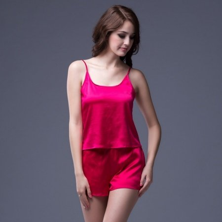 Plain Red 19mm 100% Pure Silk 2 Pieces Spaghetti Strap Camisole & Shorts Sexy Summer Pajamas for Women Girls M L XL XXL