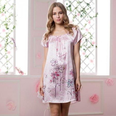 Pink Purple 100% Pure Silk Flower Embroidered Ruffled 1 Piece Nightdress Elegant Luxury Pajamas M L XL