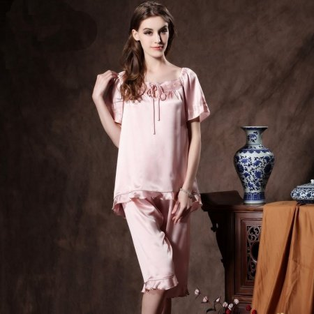 Misty Rose 100% Nature Silk Embroidered Falbala and Flouncing Ruffled Bowknot 2 Pieces Stylish Pajamas for Feminine Girly M L XL