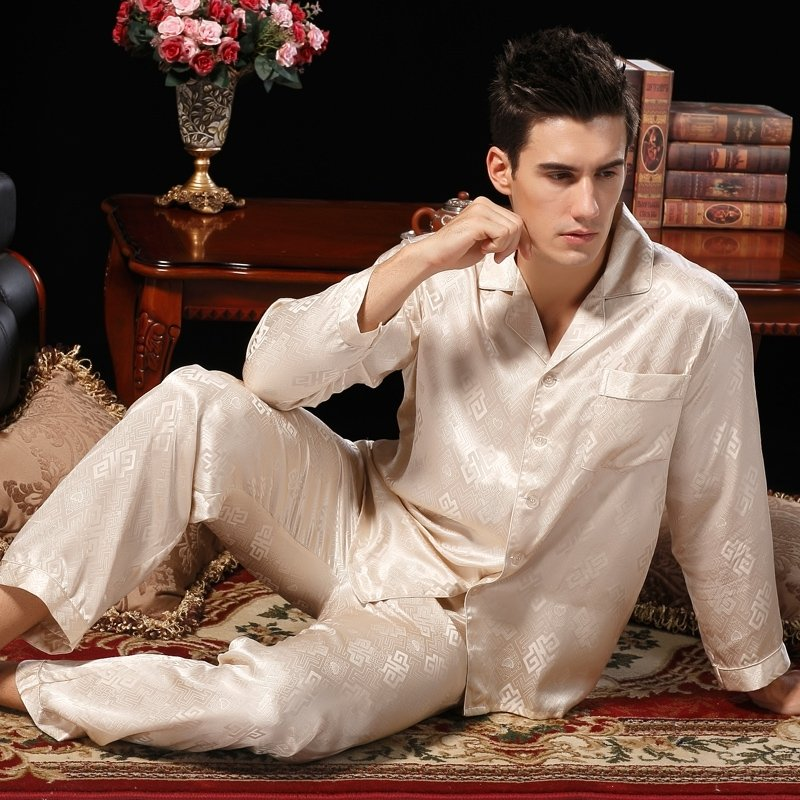 Beige Fret Pattern 100% Pure Silk Long T-Shirt and Pants Classic Luxury Pajamas for Boys Masculine L XL XXL