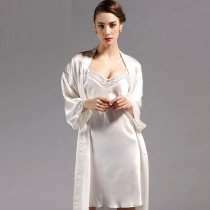 Solid Snow White 100% Chinese Silk Nightgown Robe 2pc Luxury Noble Pajamas for Feminine Girly M L XL