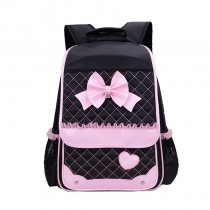 Black Nylon with Pink Lace Cute Bow Quilted Flap School Backpack Boutique Heart Sewing Pattern Sequin Girls Preppy Campus Book Bag