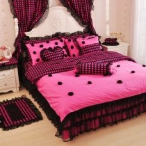 Hot Pink and Black Polka Dot Design and Gathered Lace Princess Style Feminine Feel Twin, Full, Queen Size Bedding Sets for Girls