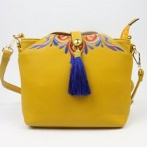 Bohemian Style Lemon Yellow Patent Leather Tassel Lady Small Tote Bag Vintage Embroidered Folklore Crossbody Shoulder Satchel Bag