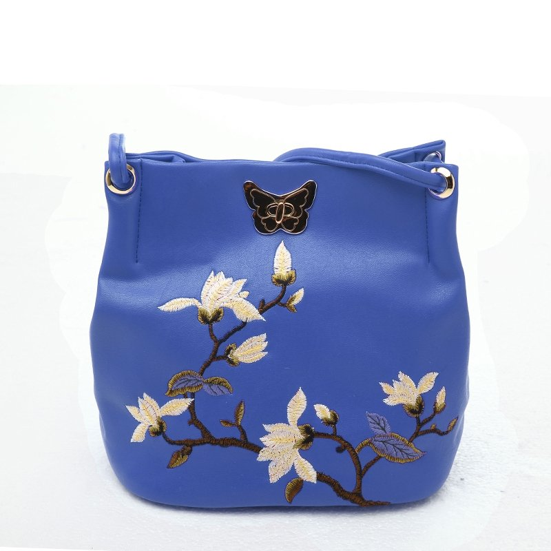 Hipster Blue Patent Leather Vintage Lock Closure Embroidered Floral with Gold Sequin Elegant Women Small Bucket Shoulder Crossbody Bag