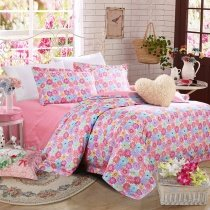 Aqua Pink Lilac Purple and Rose Red Daisy Flower Print Elegant Girls 100% Organic Cotton Full Size Bedding Sets