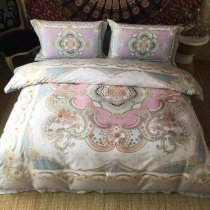 Camel Pink and White Indian Pattern Moroccan Style Vintage Bohemian Chic Sophisticated 100% Egyptian Cotton Full, Queen Size Bedding Sets