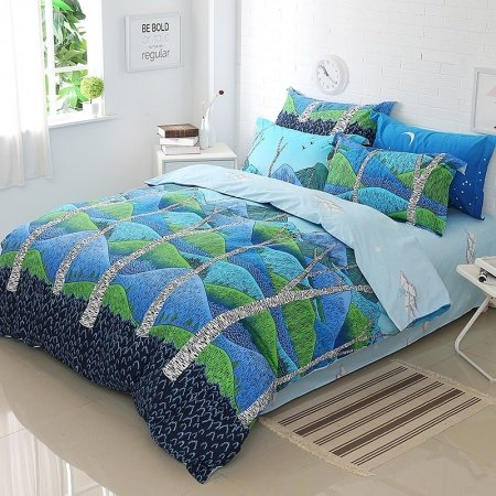 Deep Blue Royal Blue and Pigment Green Mountain Print Wildlife Style Rustic Chic 100% Cotton Full, Queen Size Bedding Sets