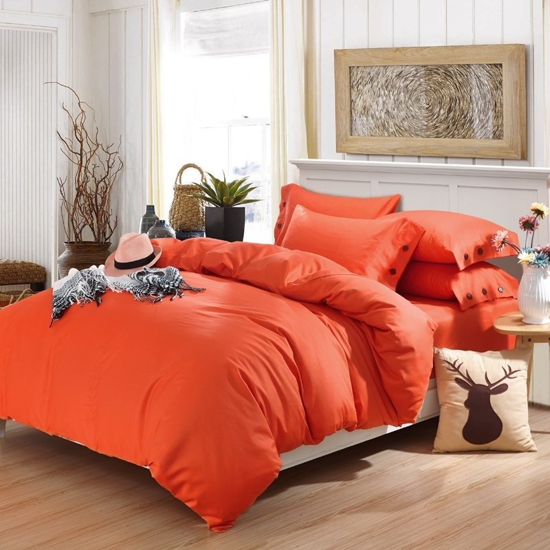 Pure Orange-red Solid Colored Plain Colored Stylish 4 Pieces 100% Organic Cotton Twin, Full, Queen Size Bedding Sets