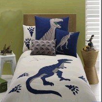 Deep Blue and Beige Boys Dinosaur Cretaceous Animal Hipster Style Simply Chic 100% Organic Cotton Twin, Full Size Bedding Sets