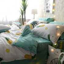 Yellow Green White and Mint Green Tropical Fruit Pineapple Print Rustic Country Style 100% Cotton Twin, Full, Queen Size Bedding Sets