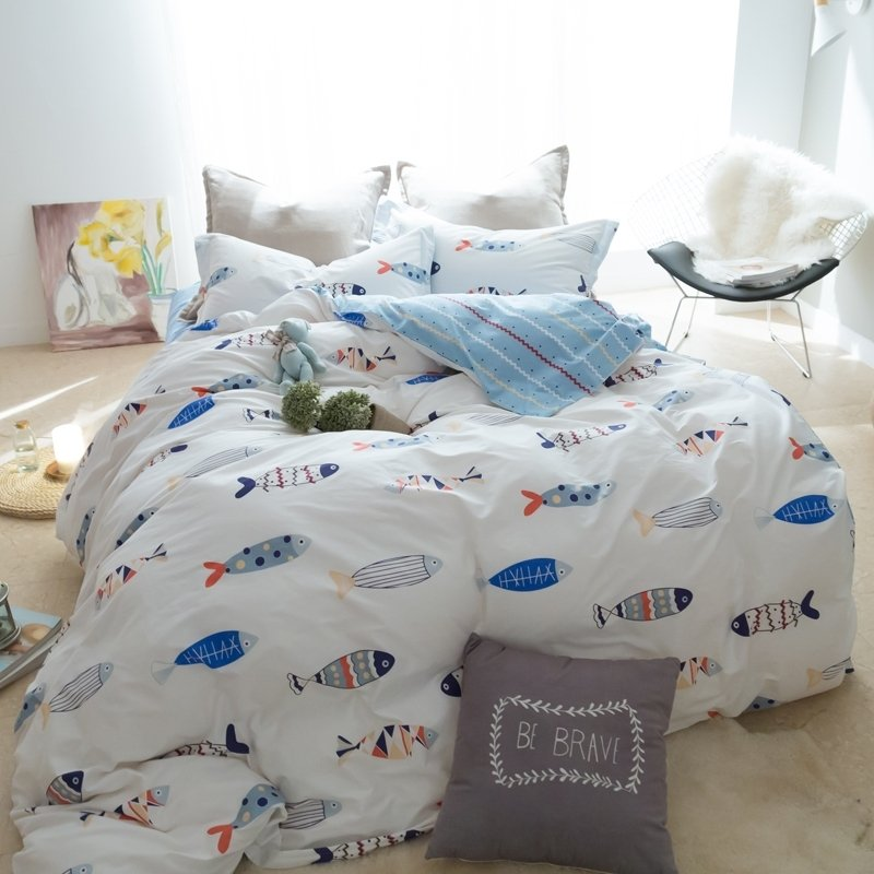Stylish Blue Grey and White Fish Print Funky Style Ocean Themed Twin, Full, Queen Size Bedding Sets for Kids
