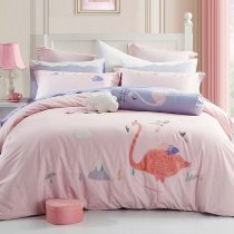 Pastel Pink Coral Pink and Grey Tropical Flamingo Pattern Elegant Girls Embroidered Design Luxury Cotton Full, Queen Size Bedding Sets