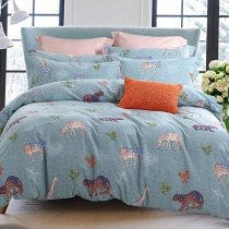 Powder Blue Brown and White Jungle Animal Leopard and Wild Horse Print Safari Themed Brushed Cotton Full, Queen Size Bedding Sets