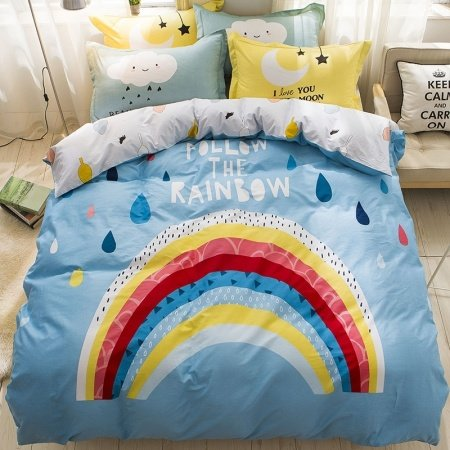 Kids Sky Blue Red Yellow and White Rainbow Bridge Hipster Style 100% Cotton Twin, Full Size Bedding Sets