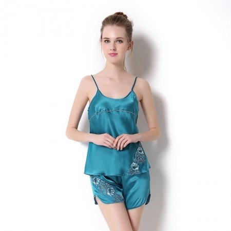 Solid Turquoise 100% Nature Silk 2 Pieces Camisole and Shorts Summer Sexy Luxury Pajamas for Feminine Girly M L XL