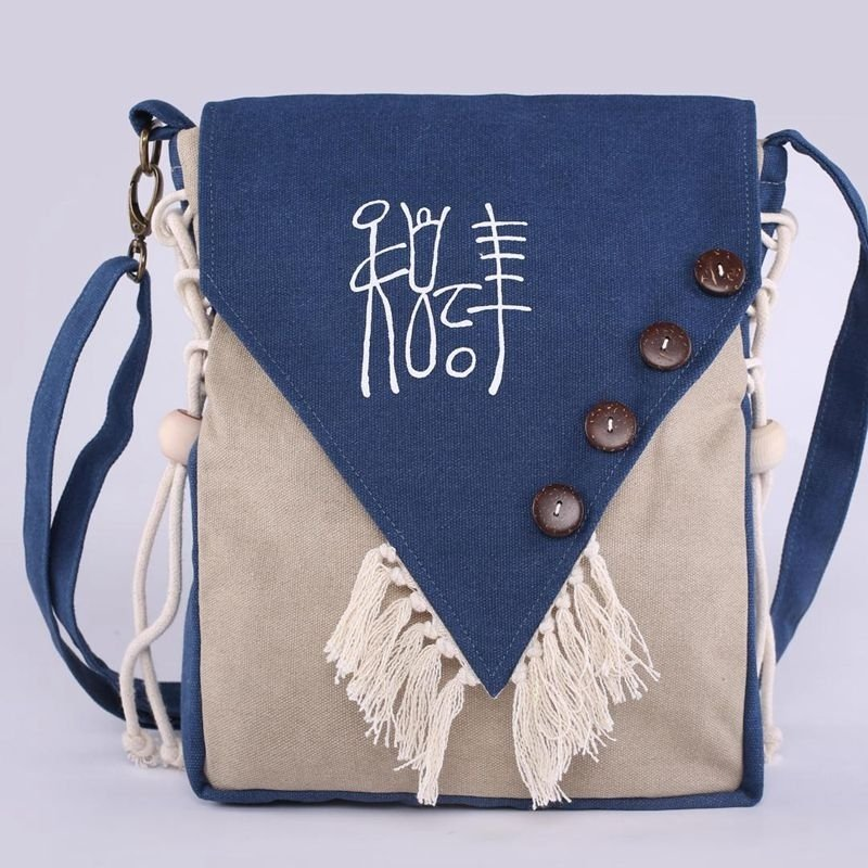 Durable Punk Style Navy Blue Beige Canvas Personalized Tassel Button Sewing Pattern Zipper Women Small Casual Flap Crossbody Shoulder Bag